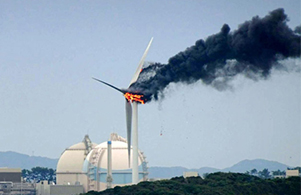 日本一风电机组着火 临近核电站灭火需谨慎