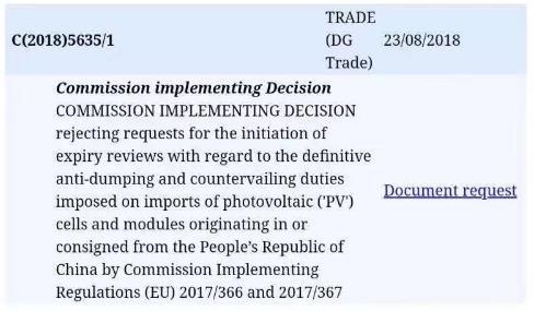 欧盟对华光伏双反将于9月3日到期后取消