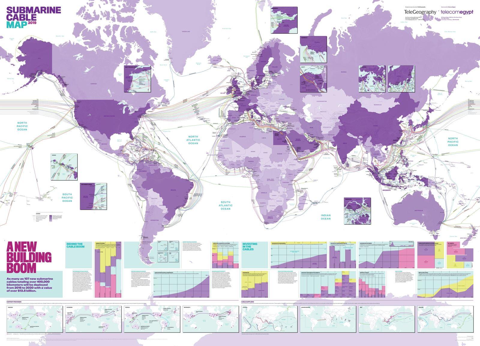 世界海底电缆地图