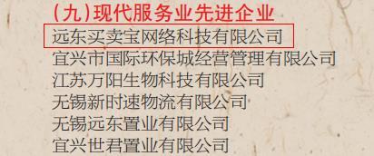 """远东买卖宝荣获""""现代服务业先进企业""""称号"""