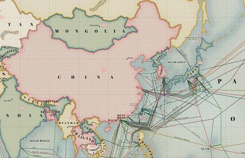 中国海底光缆分布�_2013版全球海缆分布图发布_电线电缆资讯_电缆网